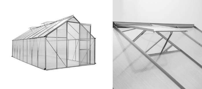 Serre de jardin avec armatures en aluminium et panneaux en polycarbonate